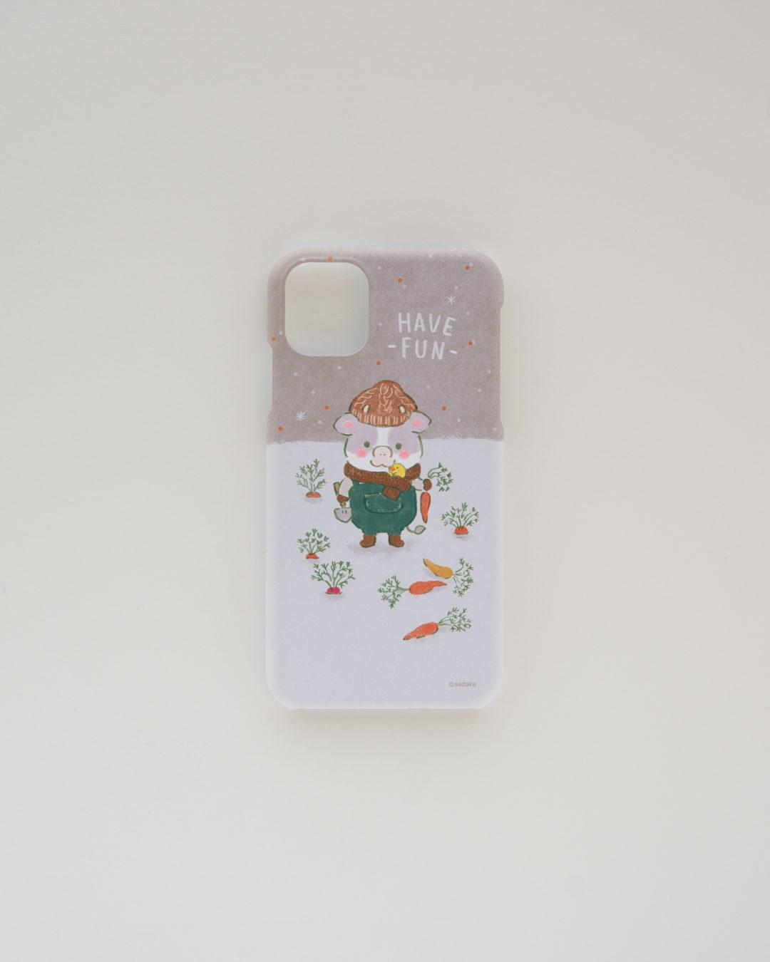 ほんわか日和 iPhoneケース 雪の畑【モウ】 ほんわかストア